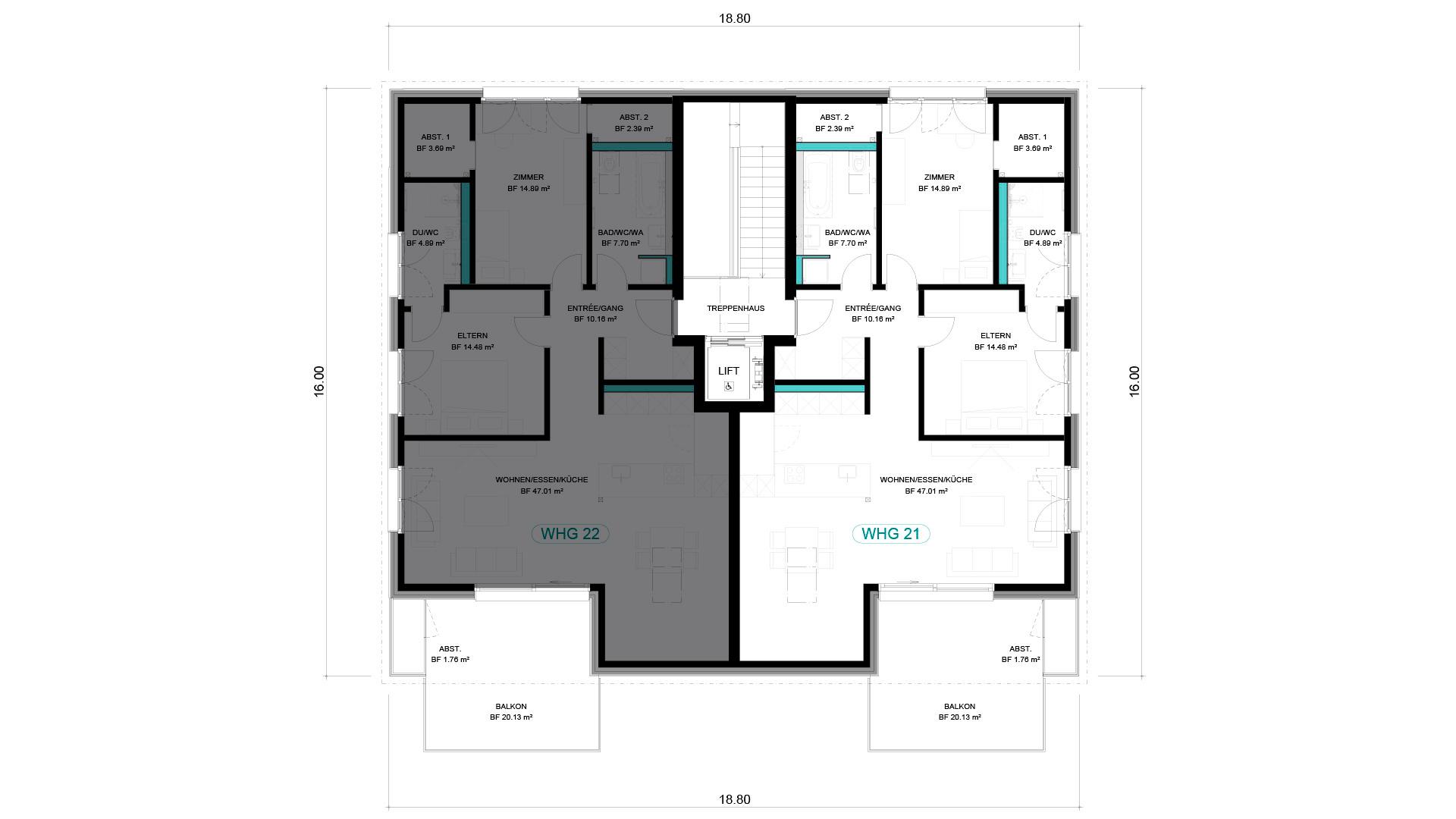 3 1/2 Wohnung DG – WHG 21